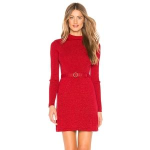 Free People French Girl Sweater Dress Red SZ L